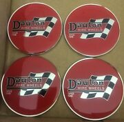"""Dayton Wire Wheels Set Of 4 Red And Chrome Metal Flag Emblems Size 2.38"""""""