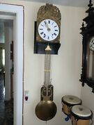 Antique French Morbier Wall Clock With Alarm