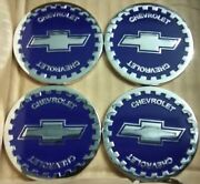 Chevrolet Wire Wheel Emblems 4 Blue And Chrome Size 2.25 Zenith Style