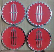 Lincoln Wire Wheel Emblems 4 Red And Chrome Size 2.25 Zenith Style