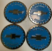 Chevrolet Wire Wheel Chips Emblems 4 Blue 801 And Chrome Size 2.25 Zenith Style