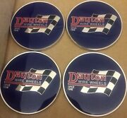 """Dayton Wire Wheels Set Of 4 Blue And Chrome Metal Flag Emblems Size 2.38"""""""