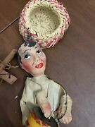Vtg Hand Made Paper Mache Mexico Marionette Puppet On Strings Tin Drum Folk. Am1