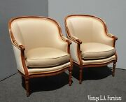 Pair Vintage Baker Furniture Co. French Louis Beige Gold Tub Accent Chairs