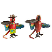 Parrot Statue Figurines Indoor Coffee Serving Tray Items Kitchen Living Room