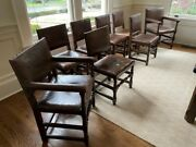Circa 1920and039s Antique Dining Chairs 6 Side And 2 Arm