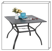 37 Patio Outdoor Dining Table Square Bistro Table With Umbrella Hole