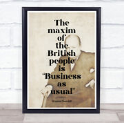 Business As Usual Faded Winston Churchill Wall Art Print