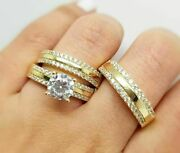 2 Ct Round Cut Diamond Engagement His And Her Trio Ring Set 14k Yellow Gold Ove
