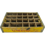 Coca-cola Wood Crate Carrier 24 Count Bottle Yellow Red Collectible Vintage