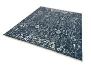 8x10 Fine Handmade Wool And Silk Hand Knotted Rug Blue Gray White M7147-11