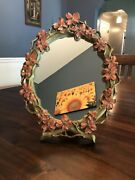 Vintage Syroco Wood Mid Century Pink Floral Branches Vanity Stand Alone Mirror