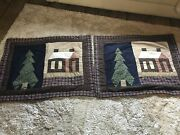 Primitive Patchwork Quilted Pillow Shams 2 Standard Log Cabin -trees On Blue