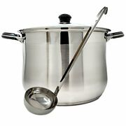 20qt Stainless Steel Stock Pot Encapsulated Base Glass Lid And Stay Cool...