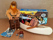Vintage 70and039s Marx/gabriel Lone Ranger Solitary Trapper Action Figure/canoe Mib