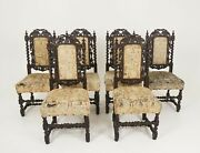 6 Antique Victorian Chairs Carved Oak Gothic Revival Scotland 1880 B2347