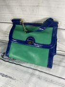 Kate Landry Blue And Green Purse Short Strap Gold Accents Fashion Purse