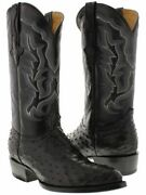 Mens Black Western Cowboy Boots Exotic Skin Leather Ostrich Quill Pointed