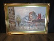 Beautiful Large French Painting Le Moulin Rouge Antique Frame Signed Burnett