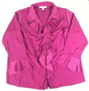 Roamanand039s Plus Size 22w Ruffle Blouse Shirt Top Pink Long Sleeve
