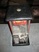 Vintage Master Rain-blo Gum Gumball Machine 1¢ One Penny Red And Black Porcelain