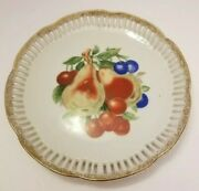 Vintage Decorative Fruit Design Plate With Gold Etching Around Edges