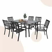 7 Piece Outdoor Patio Dining Set Furniture Backyard With Metal Table 6 Chairs