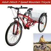Adult Mountain Tricycle 7 Speed 24inch 3 Wheel Mtb Trike Bike Red With Basket Us