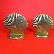Vintage Art Deco Solid Brass Clam Shell Bookends 5andrdquoh X5.5andrdquow