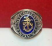New Sterling Silver United States Navy Ring Usn Size 9 21 Grams