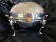 Harrison Bros And Howson Silver Plate Roll Top Serving Dish And Warmer