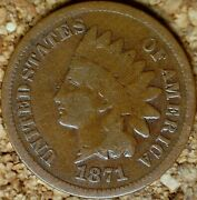 1871 Indian Head Cent - Avg Circulated G+ Low Mintage Key M201