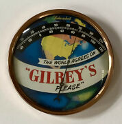 Original Vintage Gilbeyandrsquos Gin 9andrdquo Bubble Glass Advertising Thermometer Sign Vodka