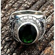 Emerald Green Stone Japanese Tiger And Dragon Sterling Silver Mens Rings