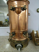 Antique 1900's Hotel Large Copper, Brass And Stoneware Coffee Urn