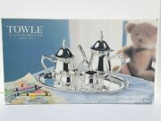 New Vintage 1990s Towle Children's 5-piece Silverplate Coffee Andtea Set Fast Ship