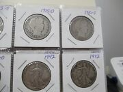 World Foreign Silver Coins X 20 United States Barber Walking Franklin Halves 86