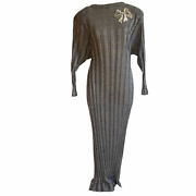 Vintage 1980s Lucie Ann Silver Lame Metallic Ribbed Maxi Sweater Dress Christmas