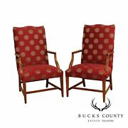 Ethan Allen Hepplewhite Style Pair Lolling Armchairs