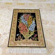 Yilong 2and039x3and039 Flower Handknotted Silk Area Rug Oriental Tapestry Carpet Y096a