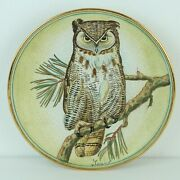 1972 Veneto Flair V Tiziano Great Horned Owl Hand Etched Painted Plate Italy