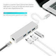 Type-c To 1000mbps Gigabit Ethernet Rj45 Network And Usb Otg Adapter For Macbook
