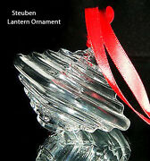 New In Box Steuben Glass Chinese Lantern Ornament Crystal Tree Lamp Heart Love