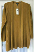 Nwt 478 Eileen Fisher L 100 Cashmere Ribbed Cardigan Sweater Arnica Gold