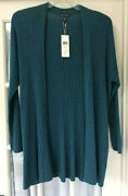 Nwt 478 Eileen Fisher L 100 Cashmere Ribbed Cardigan Sweater Blue Spruce Teal