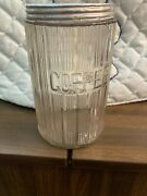 Antique Hoosier Vintage Kitchen Ribbed Glass Coffee Canister Jar