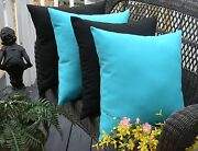 Set Of 4 17 Outdoor Decorative Pillows Solid Black And Cancun Atlantis Blue