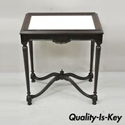 Antique Jacobean Renaissance Carved Mahogany Accent Side Table W/ Celluloid Top