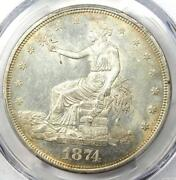 1874-cc Trade Silver Dollar T1. Pcgs Uncirculated Detail Ms Unc - Nice Luster