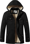 Wenven Menand039s Cotton Winter Parka Jacket Casual Warm Coat With Removable Hood